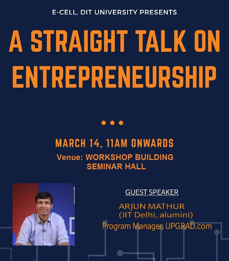 "Guest Lecture on ""A STRAIGHT TALK ON ENTREPRENEURSHIP"""
