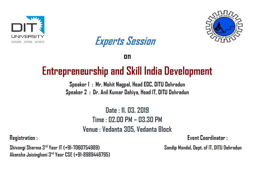 "Interactive Session with Experts : Topic - "" Entrepreneurship and Skill India Development """