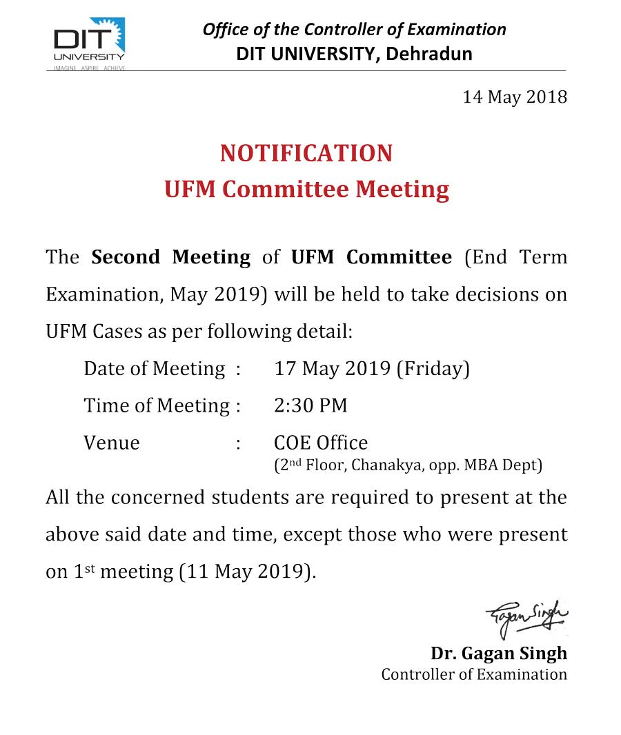 Notice - Second UFM Meeting (17 May 2019)