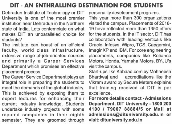 Article on DIT University published in The Times of India