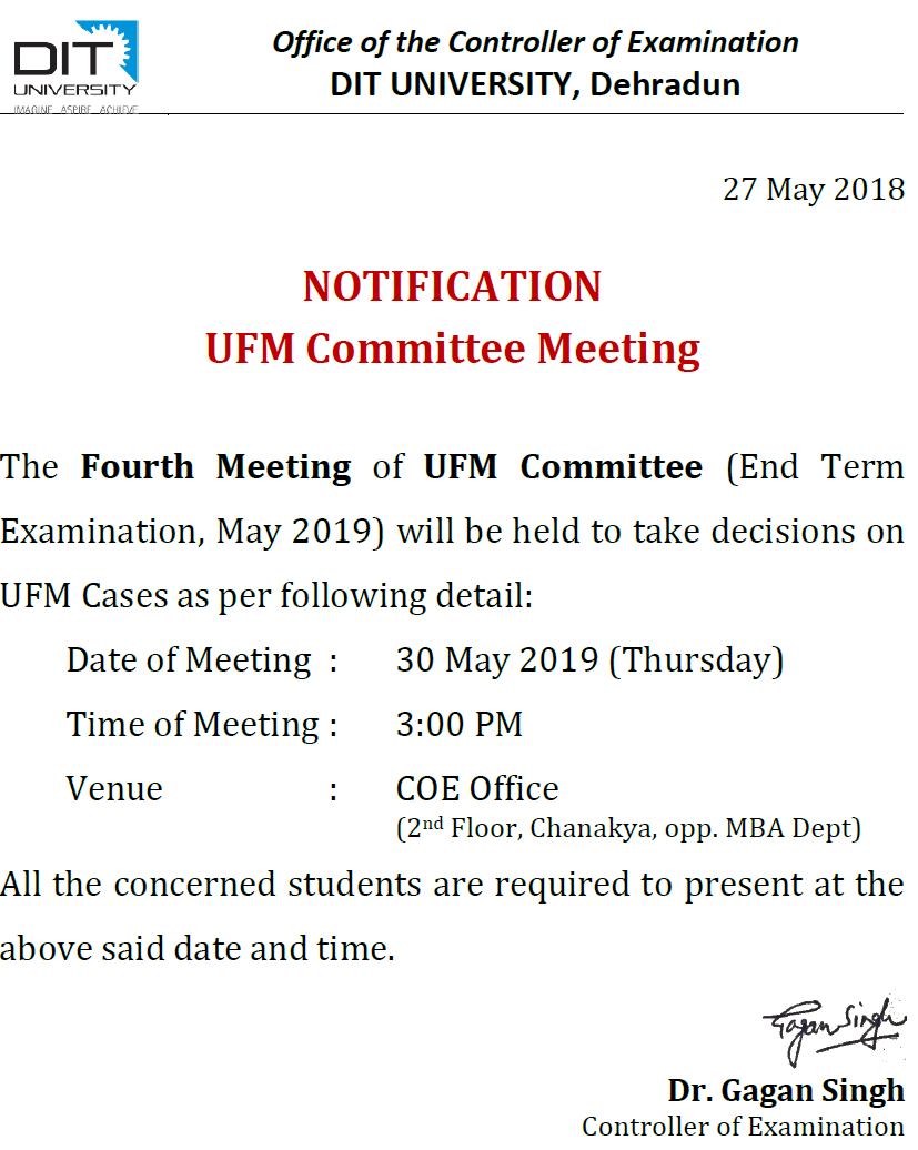 Notice - 4th UFM Meeting (30 May 2019)