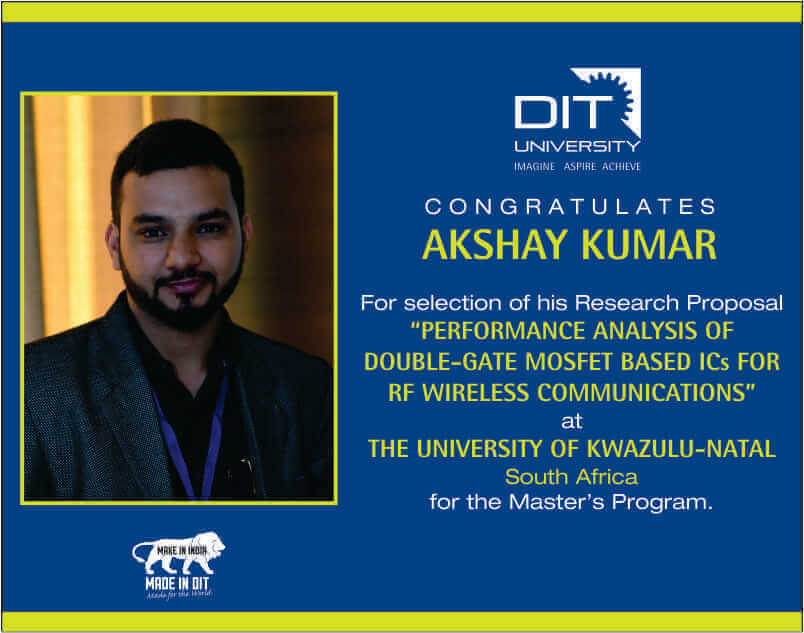 Congratulations to Akshay Kumar for selection of his Research Proposal at The University of KwaZulu-Natal, South Africa