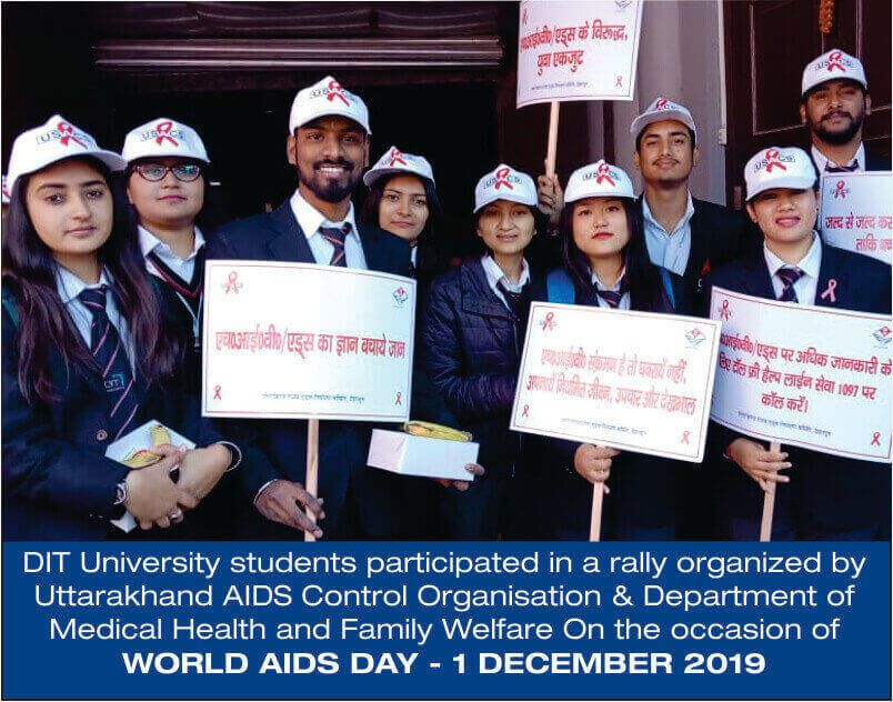DIT University participated in a rally organized by UACO & DMHFW on the occasion of WORLD AIDS DAY