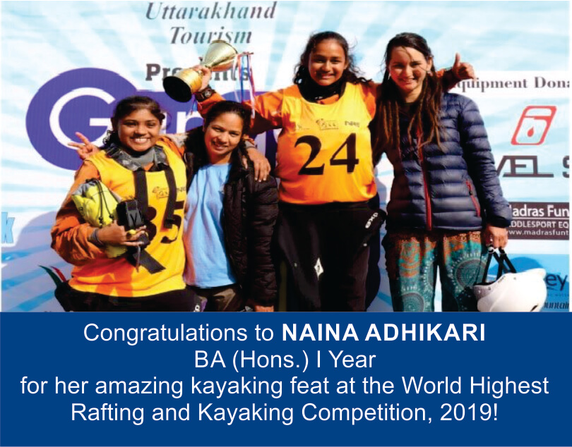 Congratulations to NAINA ADHIKARI for winning World Highest Rafting and Kayaking Competition, 2019!
