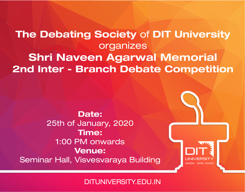 Shri Naveen Agarwal Memorial 2nd Inter-Branch Debate Competition organizes The Debating Society