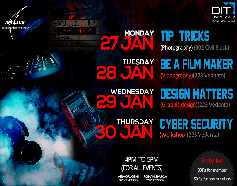 Workshop on Photography, Graphic Designing & Cyber Security by API CLub