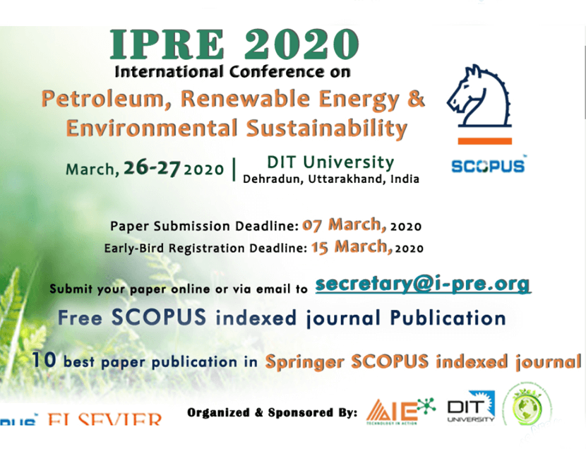 International Conference on Petroleum, Renewable Energy & Environmental Sustainability - IPRE 2020
