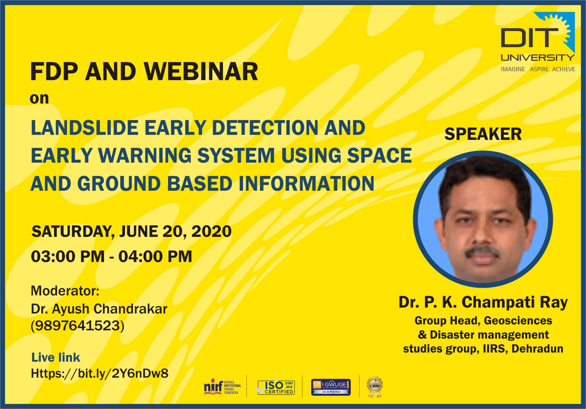 Webinar on 'Landslide Early Detection & Early Warning System Using Space & Ground Based Information'