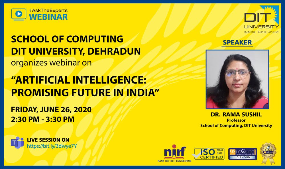 WEBINAR ON 'ARTIFICIAL INTELLIGENCE: PROMISING FUTURE IN INDIA'