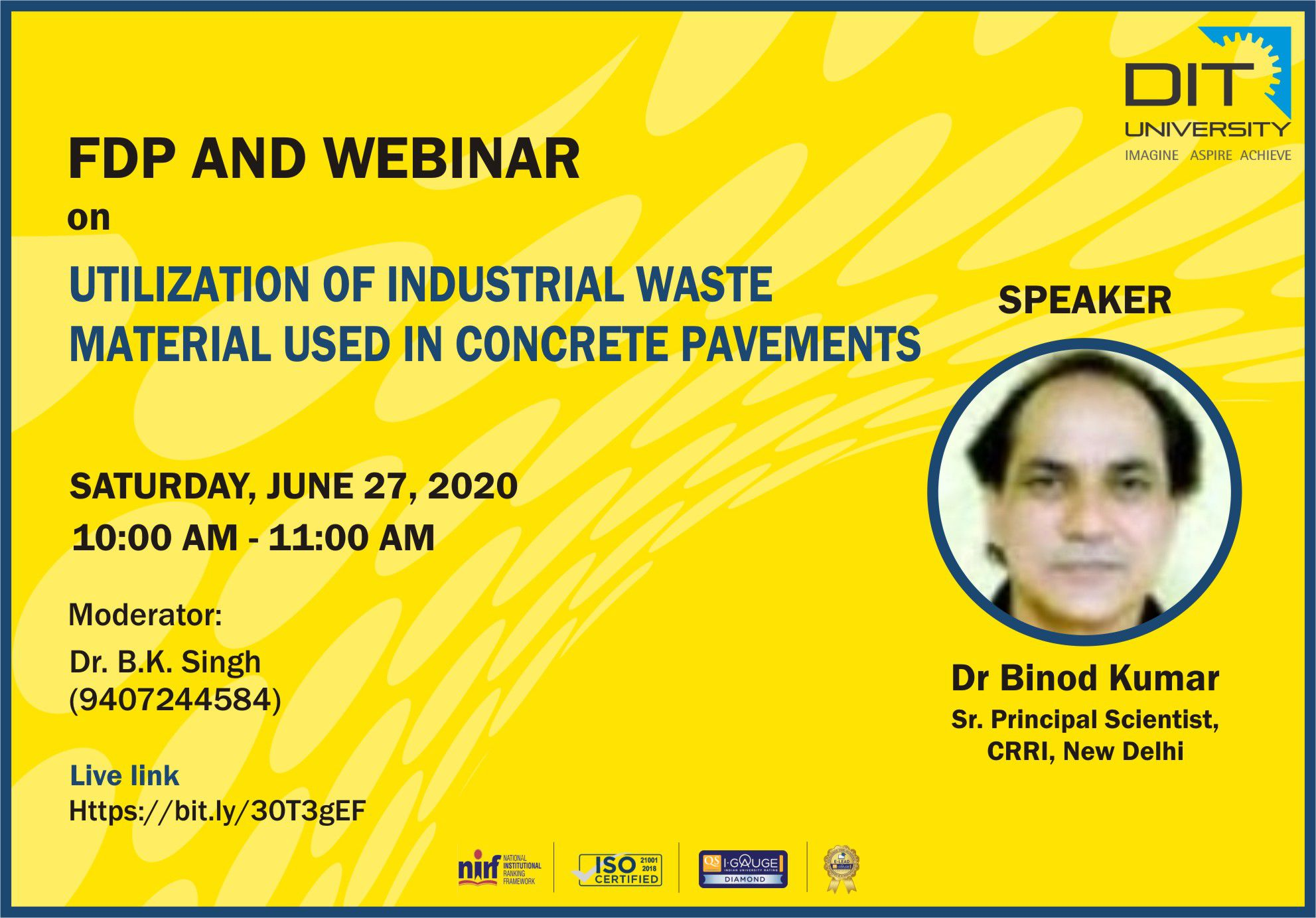 Webinar on 'Utilization of Industrial Waste Material used in Concrete Pavements'
