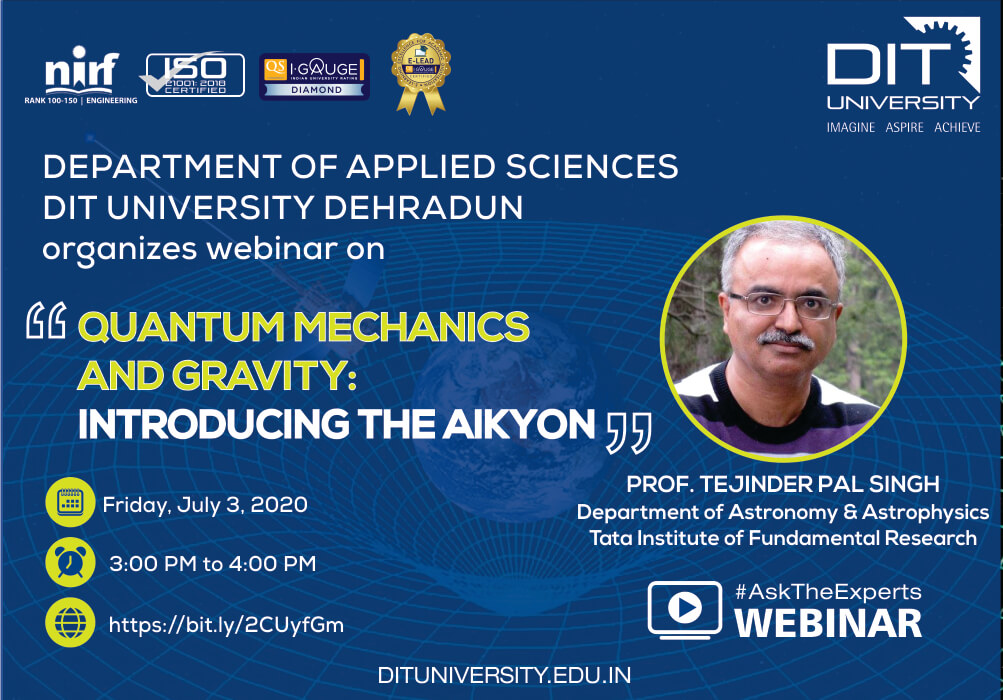 Webinar on 'Quantum Mechanics & Gravity: Introducing the AIKYON'