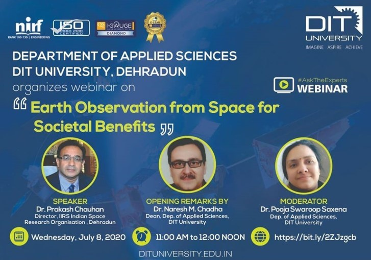 Webinar on ' Earth Observation from Space for Societal Benefits'