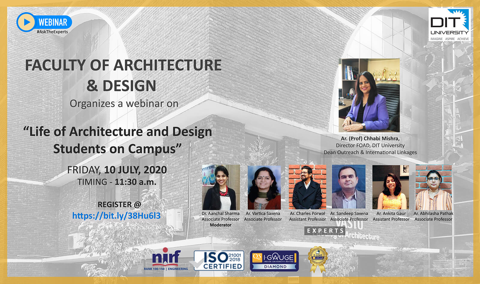 Webinar on 'Life of Architecture & Design Students on Campus'