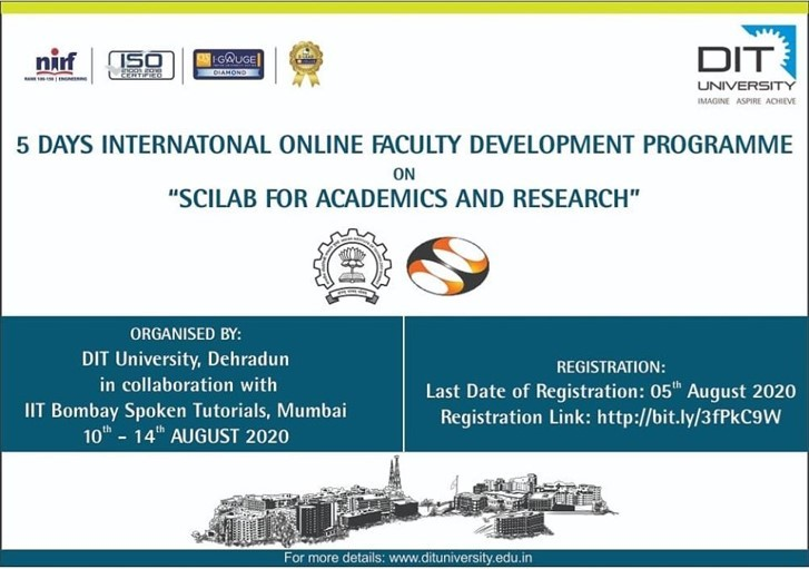 5 Days International Online FDP on 'SCILAB For Academics & Research'