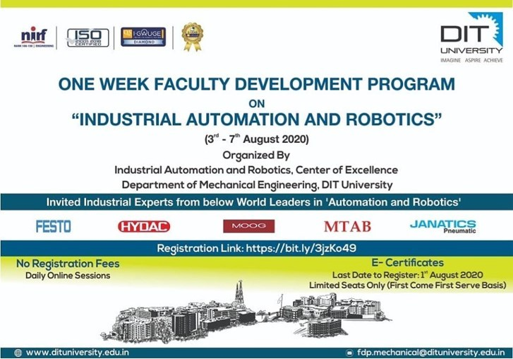 One Week FDP on 'Industrial Automation & Robotics'
