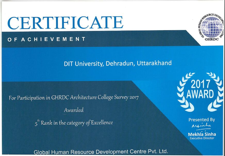 "DIT University ranked 5th for its EXCELLENCE in category ""India's Best Architecture College Survey 2017"" by GHRDC Times."
