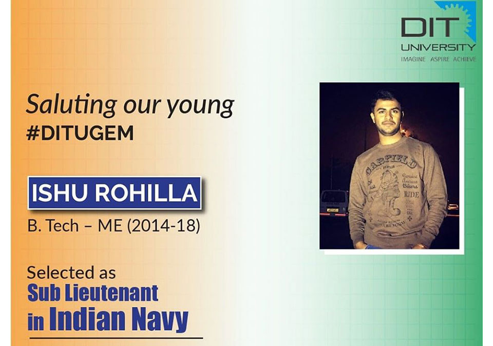 Congratulations Alumnus Ishu Rohilla for his selection as 'Sub Lieutenant' in 'Indian Navy'