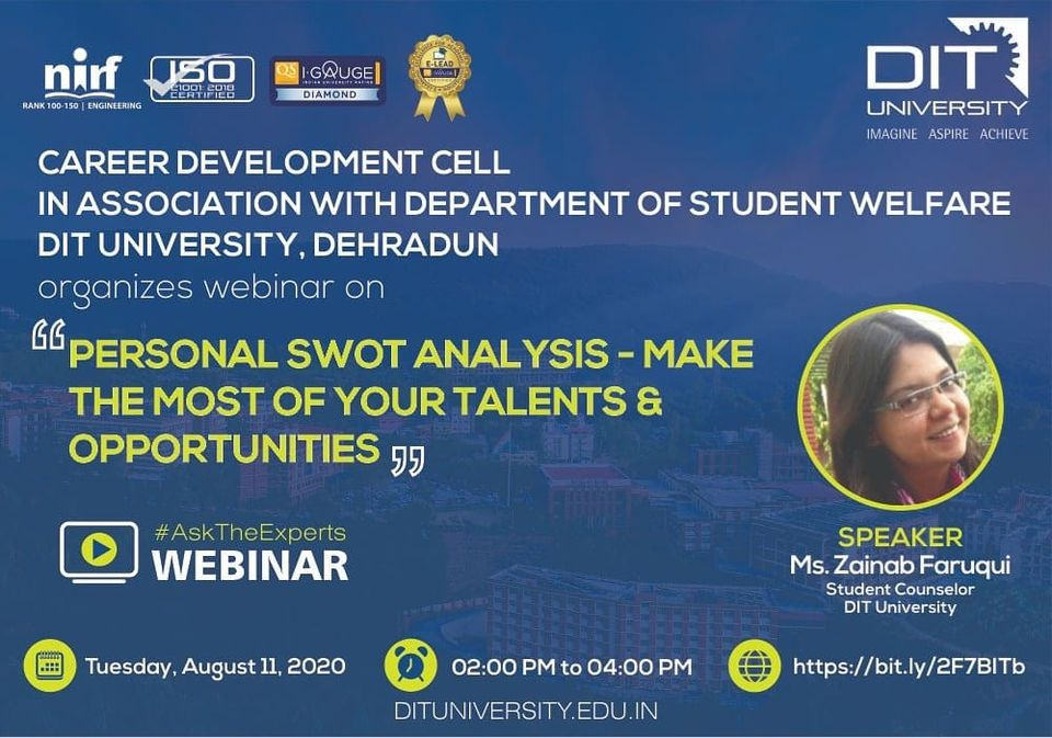 Webinar on 'Personal SWOT Analysis to transform opportunities into achievements'