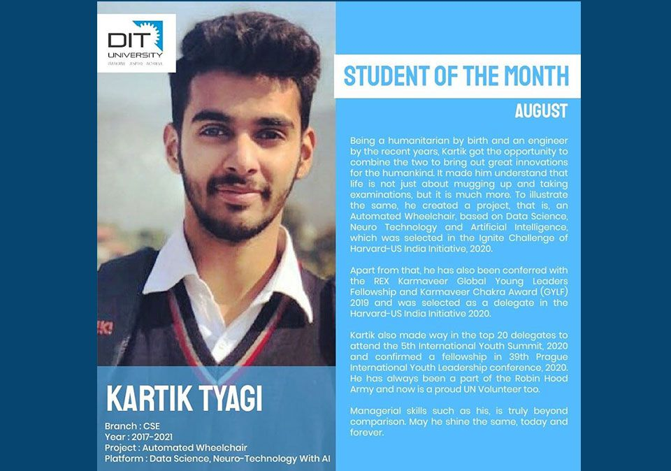 Student of the Month (August)- Kartik Tyagi, B.Tech – CSE