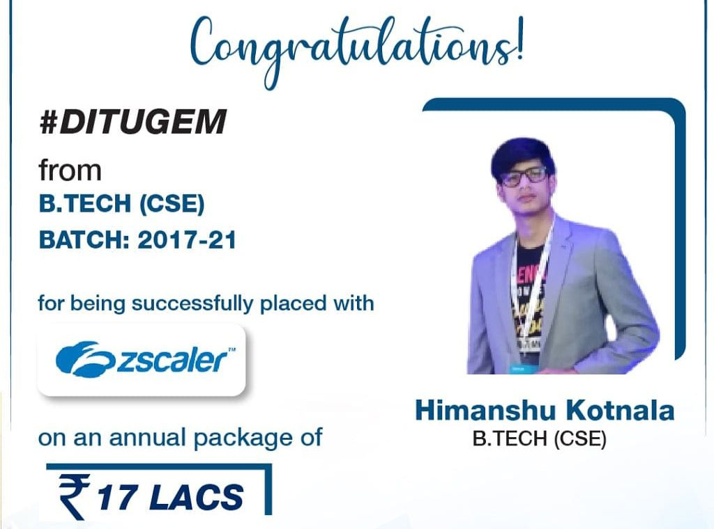 Himanshu Kotnala from B.Tech – CSE (2017-21) Batch placed in Zscaler with Rs. 17 LPA