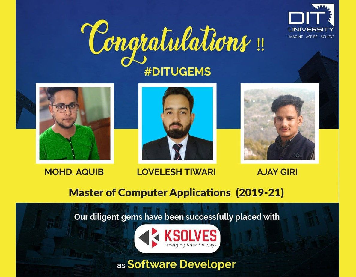 Students of MCA successfully placed with KSOLVES as a Software Developer