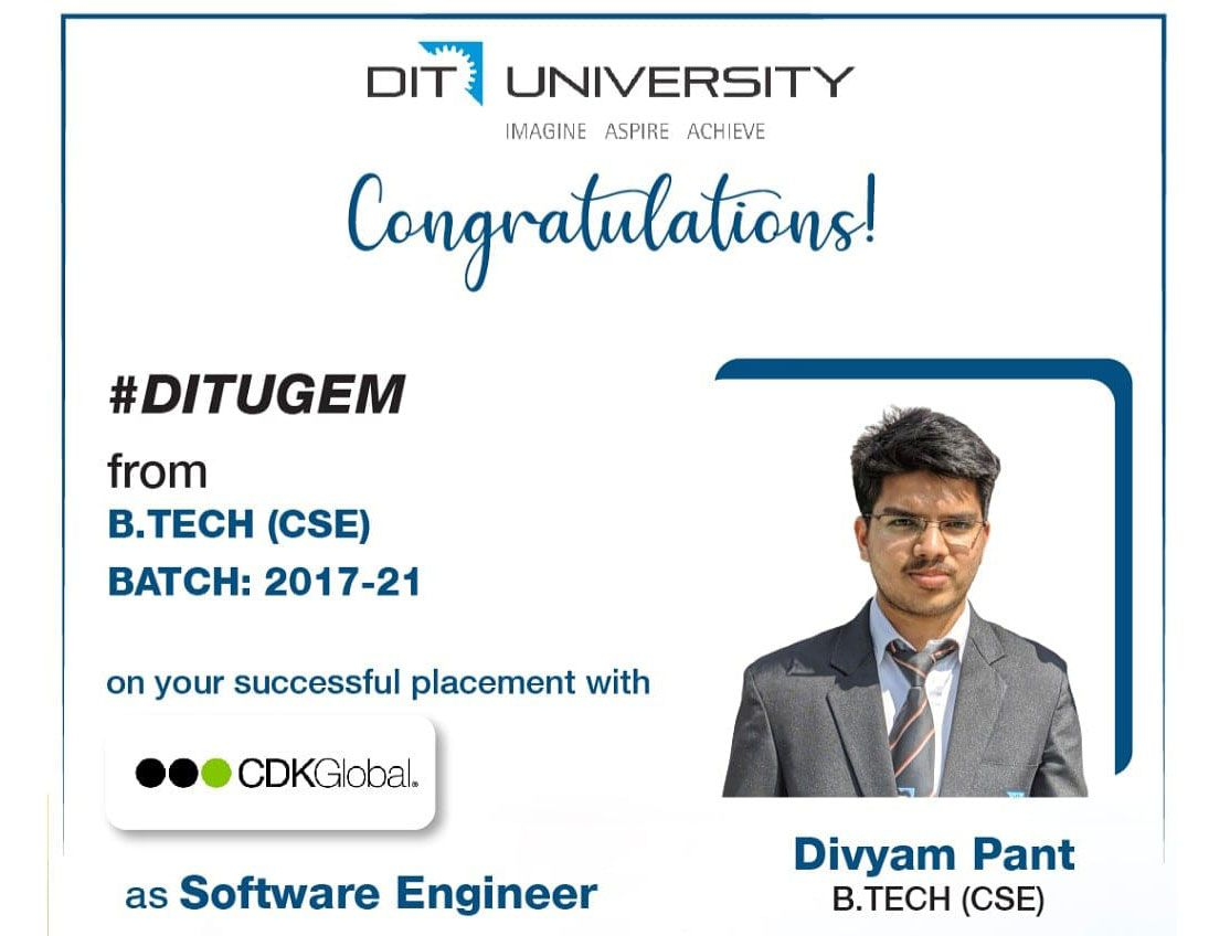 Divyam Pant from BTech CSE placed with CDK Global as Software Engineer