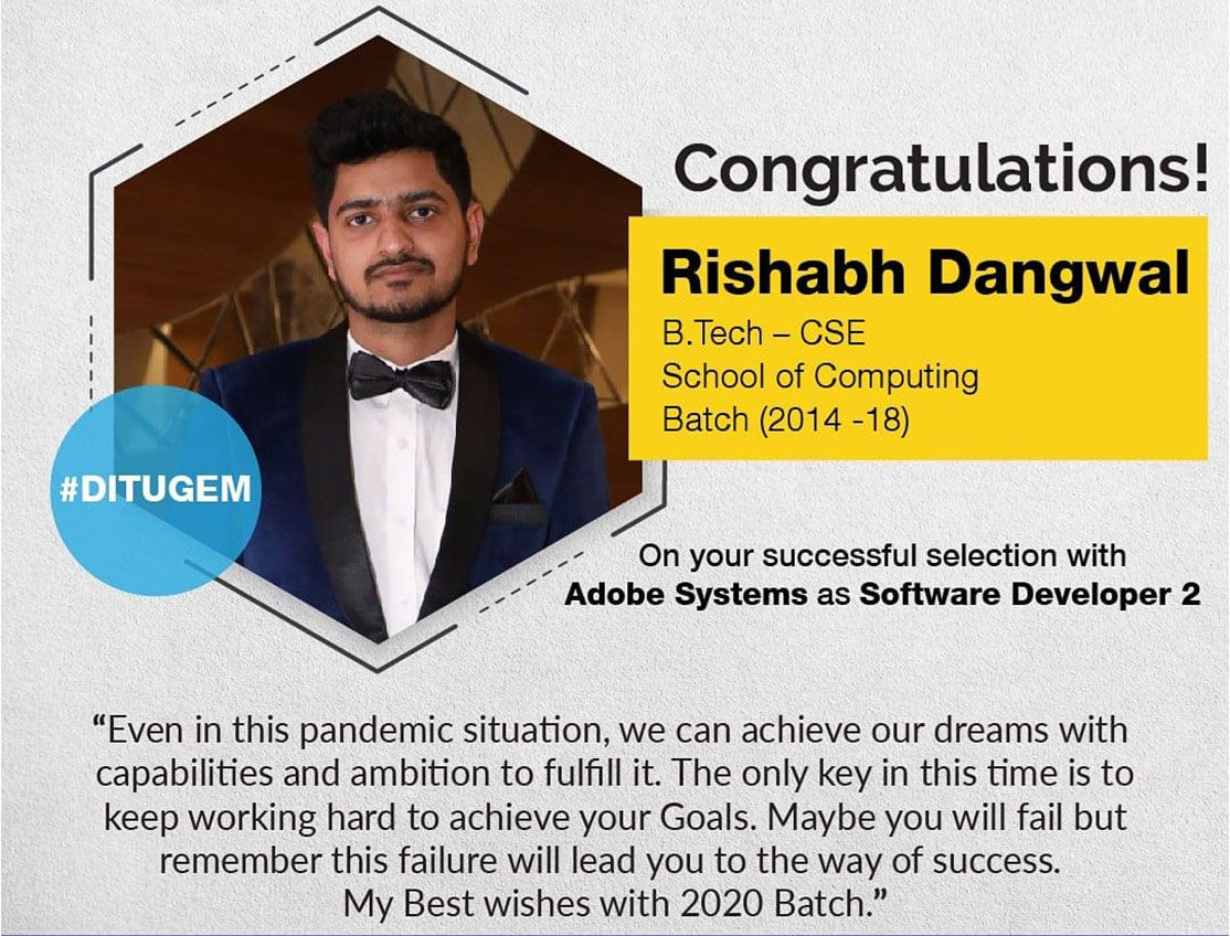 Rishabh Dangwal from BTech CSE placed with Adobe Systems as a Software Developer 2