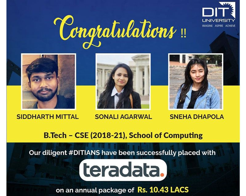 3 Students of BTech-CSE placed in Teradata with 10.43 LPA