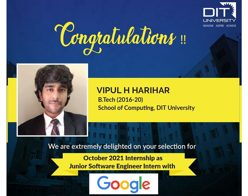 Congratulating Vipul H. Harihar from BTech-CSE for his selection as 'Junior Software Engineer Intern' with Google