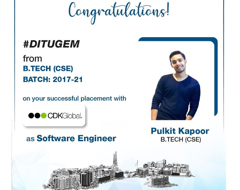 Pulkit Kapoor from BTech-CSE placed with 'CDK Global' as 'Software Engineer'