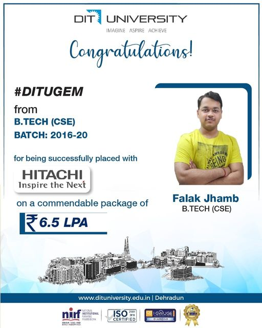 Congratulating Falak Jhamb, our #DITUGEM from B.Tech – CSE on his successful placement with Hitachi Vantara
