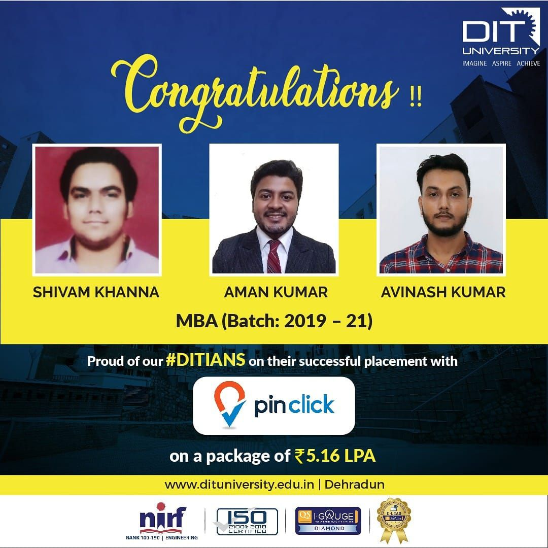 Congratulating our MBA gems for grabbing a commendable job opportunity with Pinclick Property Management Pvt. Ltd.