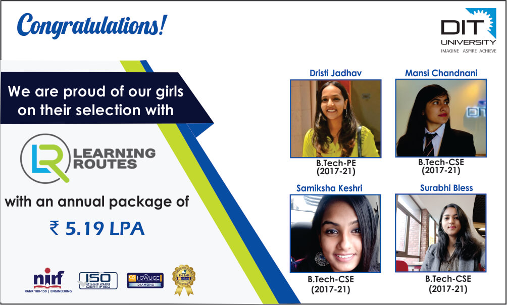 Congratulating our B.Tech gems for grabbing a commendable job opportunity with Learning Routes