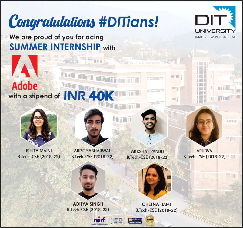 Proud to announce the selection of our six #DITians with Adobe India