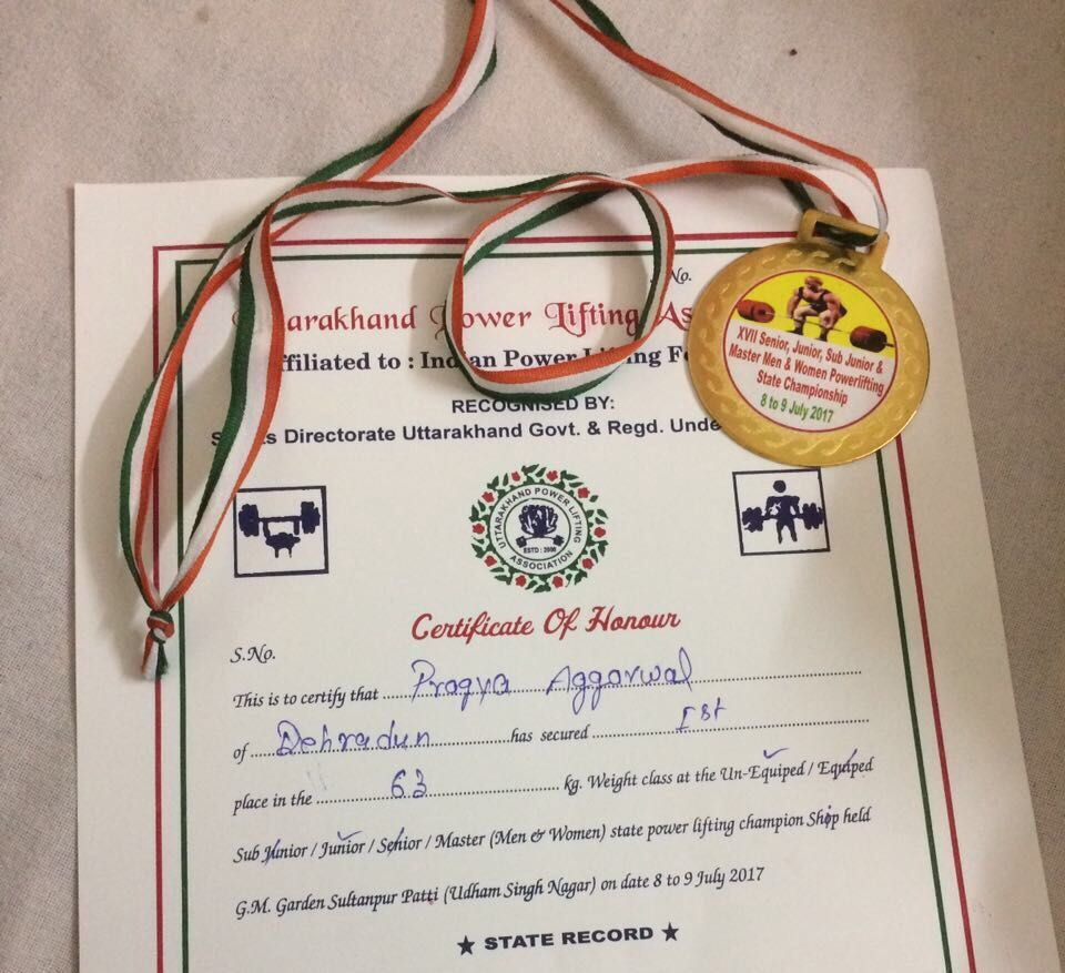 Pragya Aggarwal (BTech) won GOLD MEDAL in JUNIOR CATEGORY at the Uttarakhand Power Lifting Championship