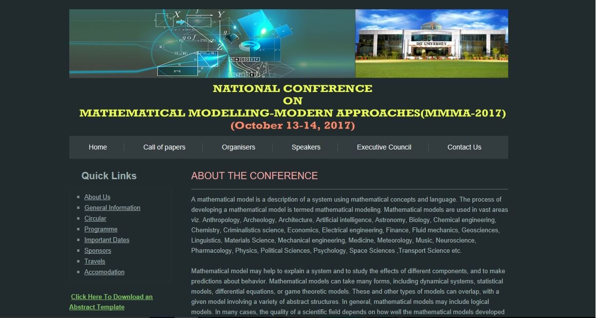 National Conference on Mathematical Modelling-Modern Approaches (MMMA-2017)