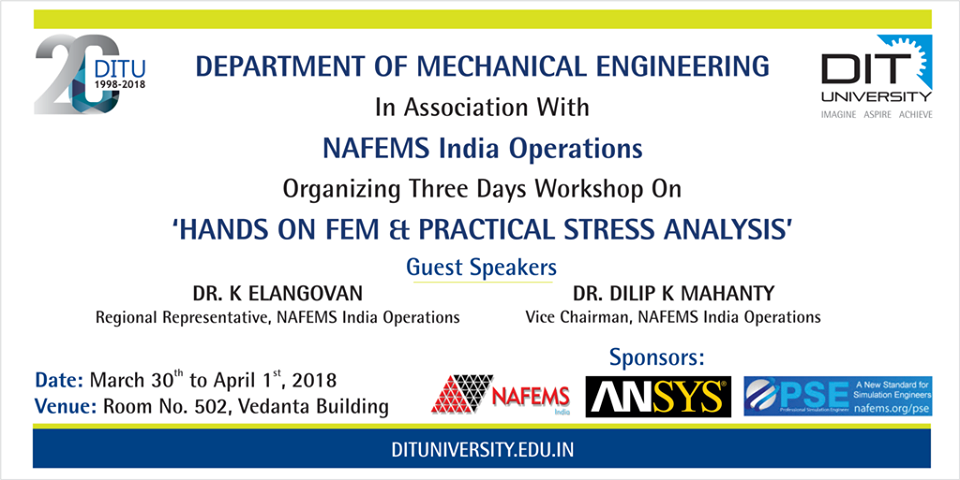 3 Days Workshop on 'HANDS ON FEM & PRACTICAL STRESS ANALYSIS'