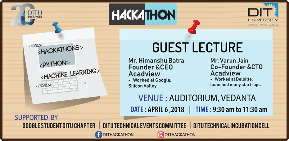 Guest Lecture on 'Hackathon, Python & Machine Learning' by Hackathon'