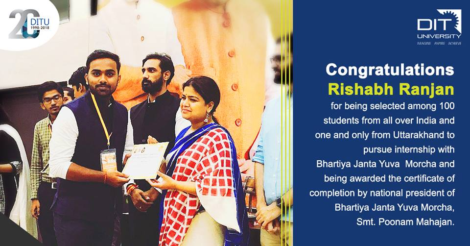Rishabh Ranjan, BTech Civil Engineering 4th year, to have completed his internship at Bhartiya Jana Yuva Morcha