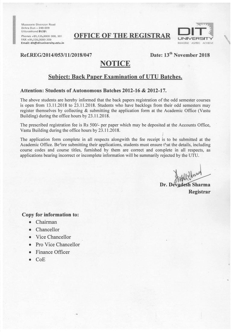 Notice - Back Paper Examination of UTU Batches