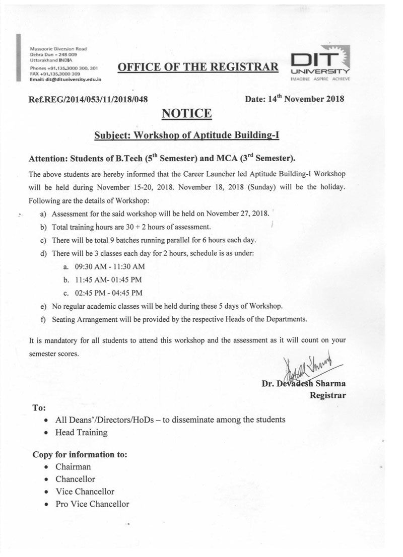 Notice - Workshop of Aptitude Building-I