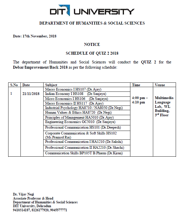 Notice: Schedule of Quiz 2 2018 (Humanities)